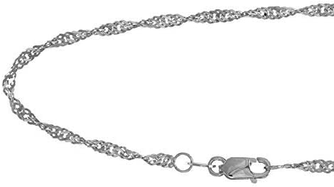 14K Yellow or White Gold 1.50mm Shiny Classic Singapore Chain Necklace for Pendants and Charms with Lobster-Claw Clasp 16 18 20 or 24 inch