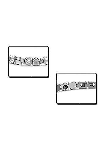 SODIAL(R) precieux magnetique Bracelet de coeur en titane pour femmes d'argent