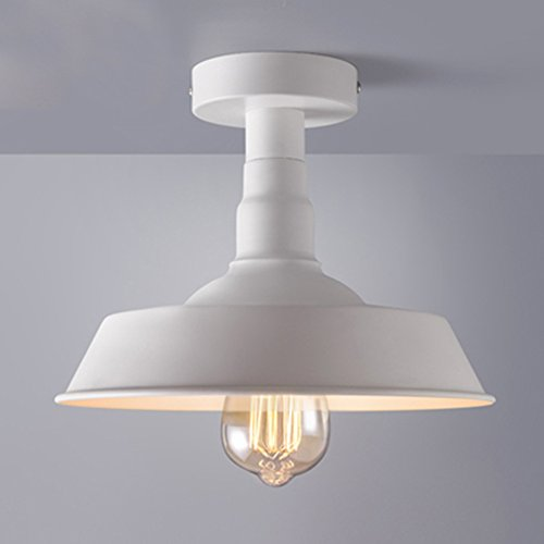 Antique White Semi Flush (BAYCHEER HL416381 Industrial Wrought Iron Warehouse Semi-Flush Mount Ceiling Light Ceiling Lighting with 1 Light White)