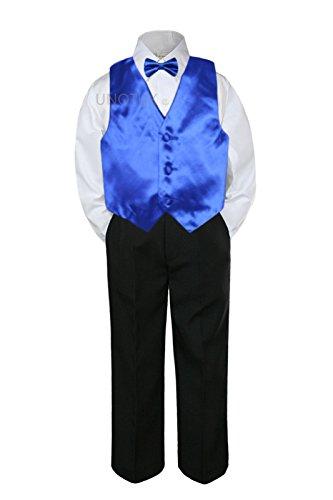 4pc Formal Baby Teen Boy Royal Blue Vest Bow Tie Black Pants Suit S-14 -