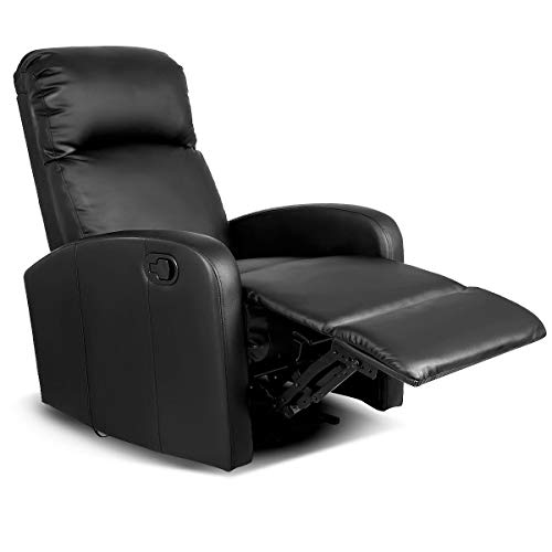 Manual Recliner Chair Lounger Leather Sofa Seat Home Theater Black with Ebook