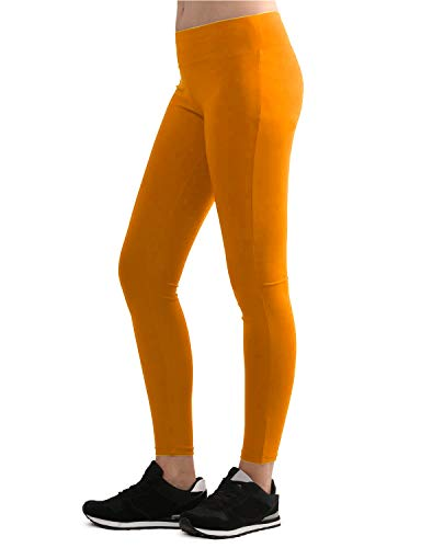 Ankle Length Tights - Lock and Love LL WB962 Womens Tights Ankle Length Legging Pants M Orange