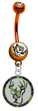 Deer Camo Camouflage & Silver Metal Charm on PREMIUM Orange Titanium Anodized Sexy Cute Belly Button Navel Ring