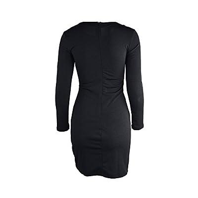 TOB Women's Sexy Bodycon Long Sleeves Criss Cross Cut Out Club Mini Dress: Clothing