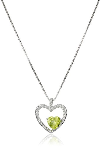 Heart Cut Peridot Pendant - Sterling Silver Peridot and Diamond Accent Heart Pendant Necklace, 18