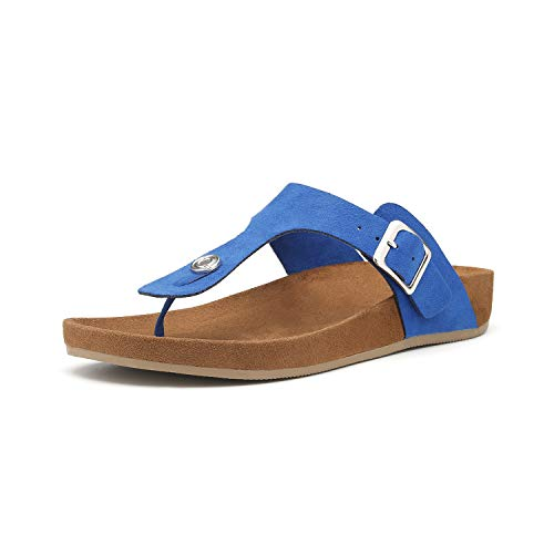 Women's T-Strap Thong Sandals Buckle Slip On Flip-Flops Beach Casual Platform Footbed Slippers (8, Blue)