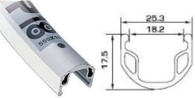 27X1 /¼-Inch Sta Tru Silver Alex AP18 36H Rim Rear Wheel