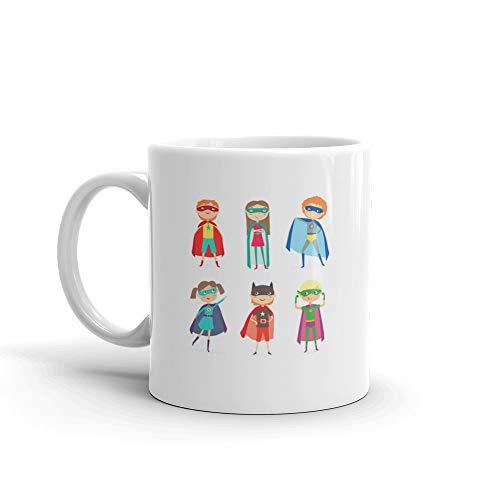 (Superhero Kids Boys And Girls Cartoon Costume Idea Funny Cute Mug Cups Ceramic 11)