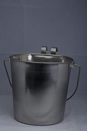 Indipets Heavy Duty Flat Sided Stainless Steel Pail, 2-Quart (Renewed)