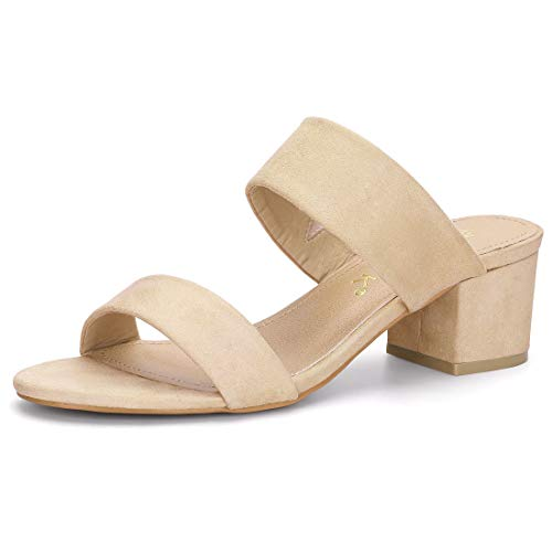 Allegra K Women's Block Heel Dual Straps Beige Slide Sandals - 9 M US