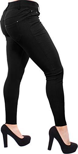 (Enimay Women's Colored Jean Look Jeggings Tights Spandex Leggings Yoga Pants Black Medium)