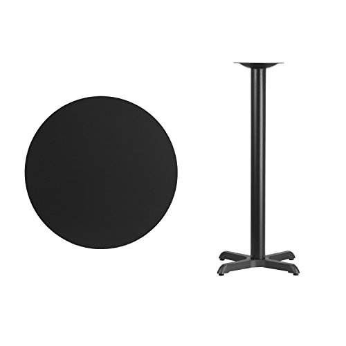 Flash Furniture 30'' Round Black Laminate Table Top with 22'' x 22'' Bar Height Table Base by Flash Furniture