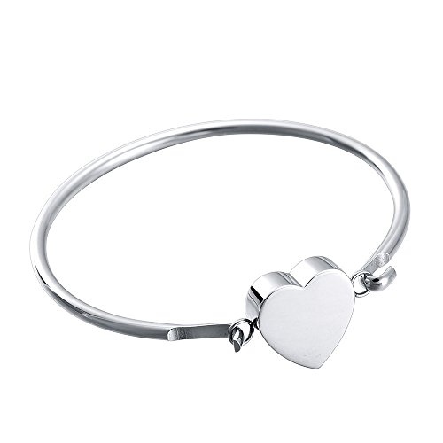 316l Stainless Steel Heart - 316L Stainless Steel Heart Cremation Urn Bangle Hold Ashes Of Loved Ones Memorial Jewelry -Engravable &Expandable (Silver Tone)