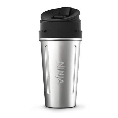 (Nutri Ninja 24-Ounce Double-Wall Stainless Steel Cup with Sip & Seal Lid for Nutri Ninja Blenders (XSKDWSS24), Stainless)