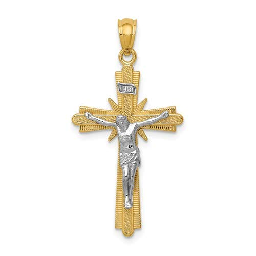1.24x.67 Inches 14k Yellow and White Gold INRI Crucifix Pendant 31.5 x17 MM