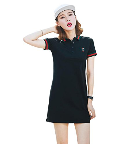 DuWei (ドゥウェイ) レディース テニスウェア 刺繍 Tシャツ 半袖ゲームシャツ ワンピース スポーツウェア 運動着 ゴルフウェア 体型カバー可愛い ジャージ カジュアル