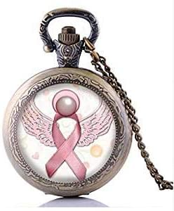 Collar de reloj de bolsillo con diseño de corazón y lazo de concienciación sobre el cáncer de mama, color rosa