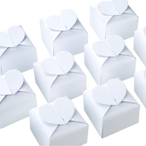 - AWELL White Candy Box Bulk 2.5x2x2.5 inches with Heart Bow Party Favor Box,White Glitter,Pack of 50