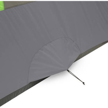 Ozark Trail 16′ x 9′ Modified Dome Tunnel Tent,With Large Mesh Panels,Front and Back Door,Pockets and Electrical Port Access,Ground Vents,Carry Bag and Tent Stakes Also Included,Sleeps 10,Gray/Green