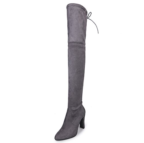 XZ Autumn and Winter Large Size Over Knee Boots High-Heeled Round Head Scrub Boots Lace Women's Shoes Gray X1epUVyf