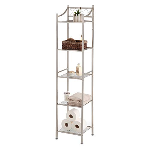 Home Zone 5-Tier Classic Style Mesh Shelving Bathroom Space Saver, Satin Nickel Finish by Home Zone