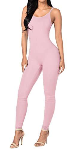 [Ybenlow Women's Spaghetti Strap Bodycon Tank Jumpsuits Rompers Bodysuit,Pink,Small] (Pink Spandex Bodysuit)