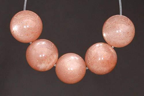 40 Pcs - 5MM Translucent Peach Moonstone Beads Grade AAA Round Genuine Natural Gemstone Loose Beads ()