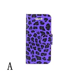 iPhone 5S Case, WKell Leopard Pattern PU Leather Case for iPhone 5/5S,D