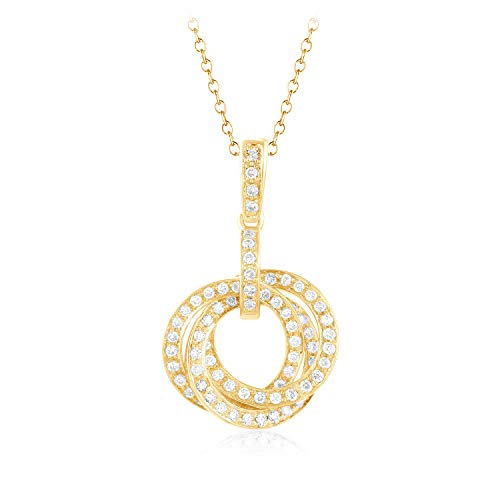 1/3 Ct Round Natural Diamond 14k Gold Circle Pendant 16