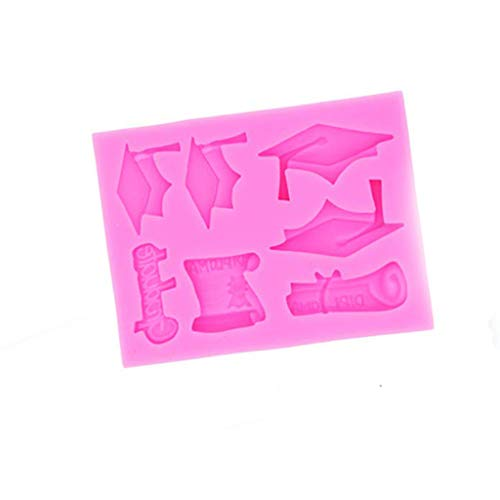 Price comparison product image BCDshop Graduation Cap and Diploma Mold Cupcake Toppers Decorating Baking Mould Tool Chocolate Candy Fondant Mold for Graduation Party Supplies (Pink)