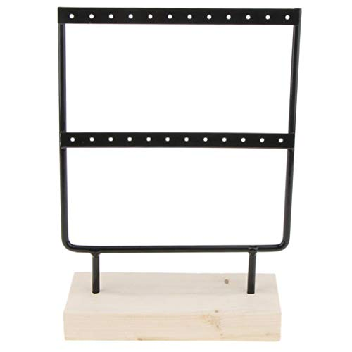 AckfulWood Base Metal Jewelry Holder Display Stand Dangle Earrings Hanging 24 Holes (Black)