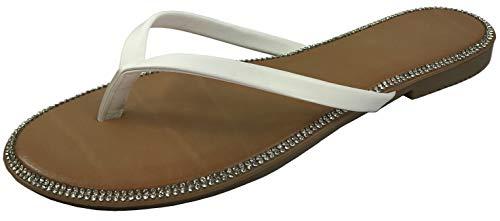 - Harper Shoes Women's Crystal Rhinestone Thong Flip-Flop Slip-on Flat Sandal, White, 9