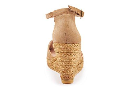 VISCATA Caprubi Elegant Comfort, Soft Suede, Ankle-Strap, Open Toe, Espadrilles with 3-inch Heel Made in Spain marrón claro