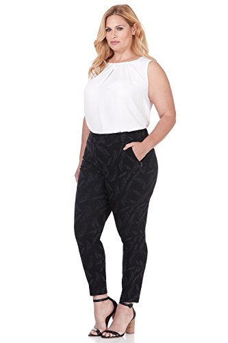 Rekucci Curvy Woman Ease in to Comfort Skinny Plus Size Pant w/Tummy Control (22W,Black/Graphite Flower Jacquard) ()