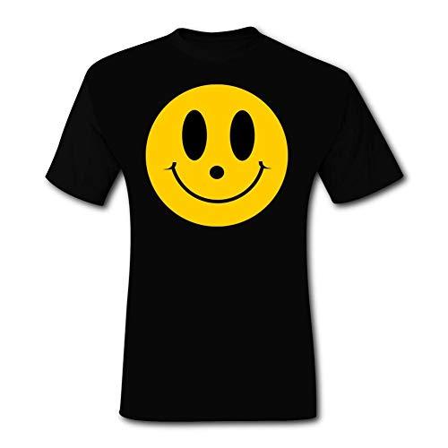 Meklginagle Smile Face Men's Short-Sleeve Cool and Refreshing Crewneck Polyester Adult Pattern Design T-Shirt Black