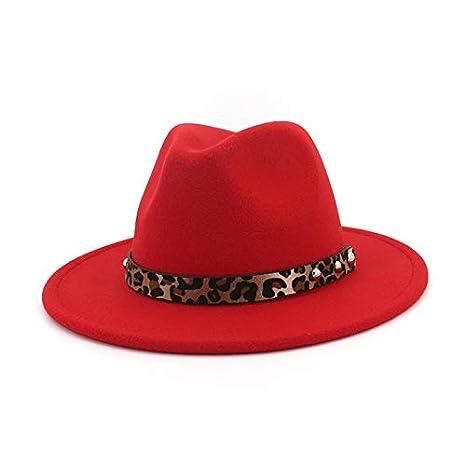 8d720cc9371 Amazon.com: LoLa Ling Vintage Wool Felt Fedora Hats for Women Men Leopard  Grain Band Decorated Trilby Hat Wide Brim Jazz Panama Formal Cap Hat:  Kitchen & ...