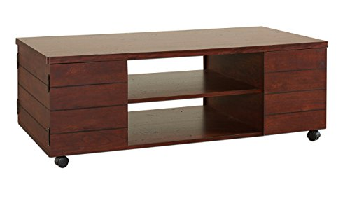 ioHOMES Harvie Coffee Table with Storage, Vintage Walnut - Transitional style coffee table Sturdy wood frame for lasting quality, stylish plank design Two storage compartments and two open shelves - living-room-furniture, living-room, coffee-tables - 31ot13ZRBXL -