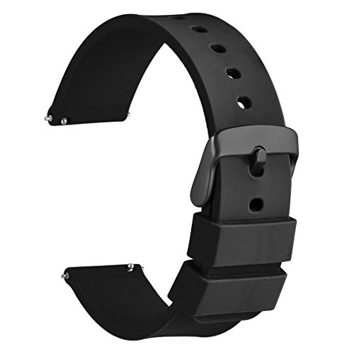 - WOCCI Silicone Watch Band 22mm,Soft Rubber Replacement Straps with Quick Release (Black with Black Buckle)
