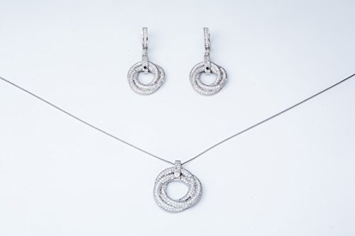 Ana Morales Bijou Femme Argent 925/1000-Oxyde de zirconium-+ Set de véritable collier argent 925