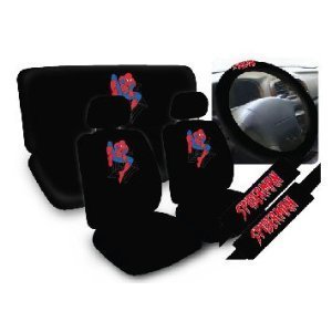 OxGord Spider Man Car Seat Cover Set Marvel Comics Superhero Low Back Covers With Head
