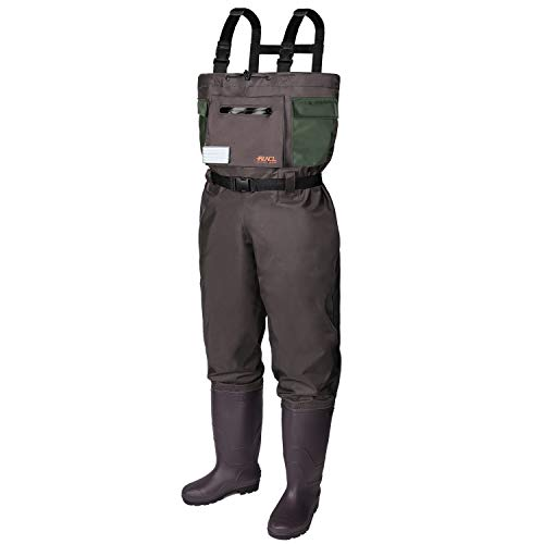 RUNCL Chest Waders, Waist-High Waders, Bootfoot Waders - Reinforced Nylon Outer Layer, Seamless Breathable Tech, Ergonomic Design, Fly Patch - Wader Fishing Fly Fishing Hunting (Brown, M8/W10)