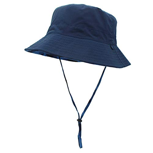 Womens Reversible Packable Fisherman Outdoor Bucket Hat with Chin Strap Sun Protective, Dark Blue