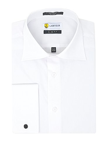 (Men's Dress Shirt Slim Fit French Cuff Solid White from Labiyeur 15 | 34-35)