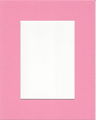 Pack of 5 11x14 Bubblegum Pink Picture Mats with White Core for 8x10 Pictures -