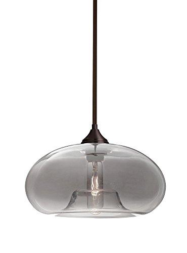 Besa Lighting 1TT-BANASM-BR Bana - One Light Stem Pendant with Stems with Flat Canopy Stem, Bronze Finish with Smoke Glass ()
