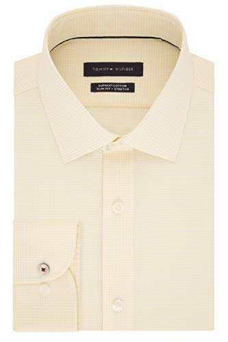 (Tommy Hilfiger Men's Dress Shirt Slim Fit Stretch Check, Citrus, 15
