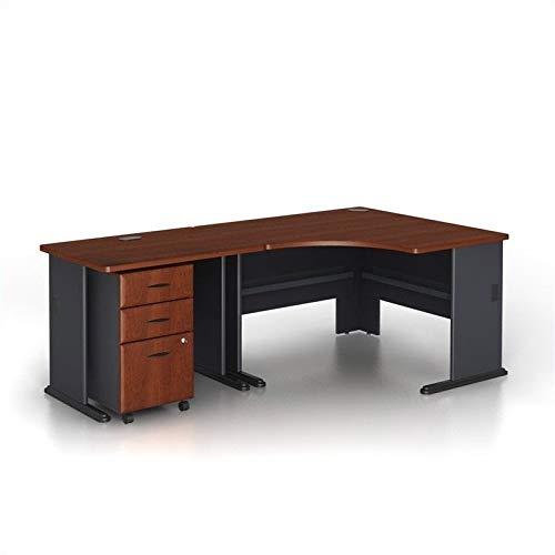American Cherry Flooring Laminate - Bush Business Series A 3-Piece Corner Computer Desk in Hansen Cherry