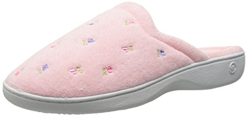 totes ISOTONER Womens Terry Scalloped Embroidered Clog Slippers, M, Pink