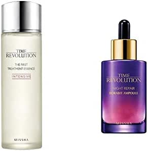 Missha Time Revolution the First Treatment Essence Intensive 150ml Bundle with the Night Repair Ampoule (Gold) 50ml