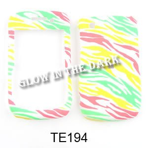CELL PHONE CASE COVER FOR BLACKBERRY CURVE 8520 8530 9300 GLOW RAINBOW ZEBRA ON WHITE